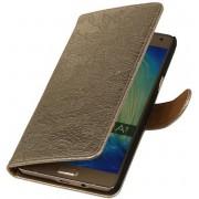 Samsung Galaxy A7 2015 A700F Hoesje Bloem Bookstyle Goud