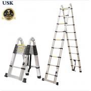 USK Telescoop Ladder - 14 treden - 2 x 7 treden - werkhoogte 4.4 meter - Met Stabilisatievoet - Telescopische - Soft closing - GRATIS TAS / HOES