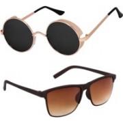 Rich Club Round Sunglasses(Black, Golden)