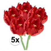 Bellatio flowers & plants 5x Rode tulp deluxe Kunstbloemen 25 cm