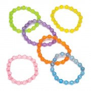 Baker Ross Colourful Beaded Bracelets - 6 Beaded Bracelets For Kids In 6 Colours. Toy Jewellery. Party Bag Fillers. Size 7cm.
