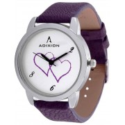 Adixin 9421SL02 New Purple Leather Strap Watch - For Girls