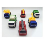 Sanyal Engineering Vehicle Combination Cum Fire Truck Crane Sanitation Vehicle Set of 6 Toy Trucks for Kids - Multicolored