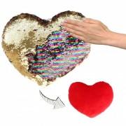 Geen Woondecoratie hartjes kussens goud/rood metallic met pailletten 50 cm