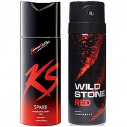ks and wild stone collection fresh spicy deo body spray for men pack of (2) pcs