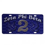 Zeta Phi Beta Line #2 Numbered Car Tag Line Number Acrylic Printed Decorative Tag For Front Back of Car