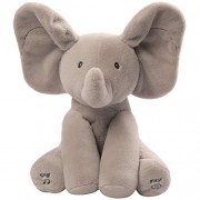 "Flappy Animated Elephant Plush 10"" Stuffed Animal Sings And Plays Peek-a-Boo"