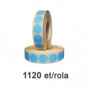 Role de etichete semilucioase rotunde albastre 35mm, 1120 et./rola