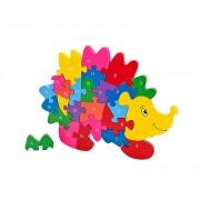 Puzzle din lemn Globo Legnoland, model Arici cu cifre, 26 piese, multicolor, 40 x 30 cm