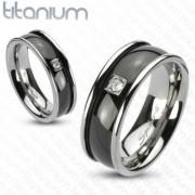 8 mm - Fekete és ezüst színű, cirkónia köves nemesacél gyűrű ékszer