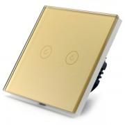 Intrerupator dublu smart Vhub cu touch panou sticla Wifi integrat 2.4GHz compatibil Google Alexa gold