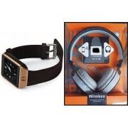 Zemini DZ09 Smartwatch and MS 881C Bluetooth Headphone for SAMSUNG GALAXY TREND LITE(DZ09 Smart Watch With 4G Sim Card Memory Card| MS 881C Bluetooth Headphone)