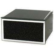 W.D.G.00849 Ékszertartó doboz 12x12x6,5cm, üveg, fekete