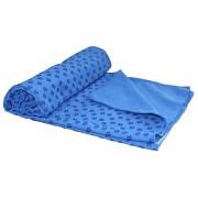 Tunturi Silicone Yoga handdoek met anti slip - met draagtas - Blauw