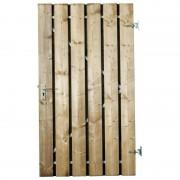 GarPro Tuindeur zachthout recht met stalen frame incl. beslag Bremen groen geïmpregneerd (100 x 180 cm)