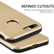 Funda Case Para IPhone 7 / IPhone 8 Doble Protector Para Uso Rudo Carbon Tech-Dorado