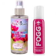 Fogg Delicious Fragrant Body Spray for Women 100ml and Pink Root Club Nuit Femme Fragrance body Spray 200ml Pack of 2