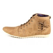 Bhavya Collection Men's Brown Ankle Length Canvas Boots