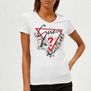 Guess Women's Short Sleeve V-Neck Roses T-Shirt - True White - S - White