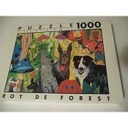 Roy De Forest Country Dog Gentlemen 1000 pc puzzle + fix puzzle glue