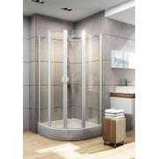 Schulte Home Accès d'angle arrondi 80 x 80 cm, verre transparent, profilé blanc
