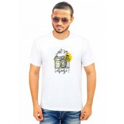 DOUBLE F ROUND NECK HALF SLEEVE WHITE COLOR JUST SAY CHEESE PRINTED T-SHIRTS