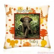 WILD ZONE Baby KIS ELEFÁNT állatos díszpárna 28x28 cm