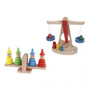 FashLady 2 Sets Educational Wooden Balance Scale w/Weights + Stacking Clown Tower Baby Kids Balancing Intelligence Toy Birthday Gift