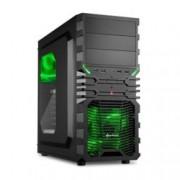 Кутия Sharkoon VG4-W, черна, зелена подсветка, прозорец, Midi Tower, ATX, USB 3.0, без захранване