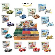Set of 18 Pull Back 3D Puzzle Vehicle Model Kit Assortment - Educational Assembly Toy Gift Party Favors (Tanks, Planes, Fire Truck, Transport Trucks)