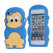 Blauw aapje silicone hoesje iPod Touch 5/6 Blue monkey cover case
