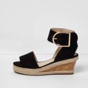 River Island Girls Black cork espadrille wedge sandals