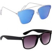 Eyevy Wayfarer, Aviator, Retro Square, Cat-eye, Over-sized Sunglasses(Blue, Black)