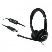 Fejhallgató, mikrofonnal, USB csatlakozás, SANDBERG Plug`n Talk, fekete