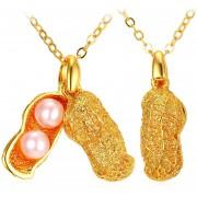 U7 Collar Colgante De Maní Con Perla Sintética Chapado En Oro 18K Joyas De Moda Para Mujer P11971K