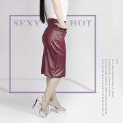 EH Mujeres Lady Estiramiento Alta Cintura Lápiz Falda Rodilla-longitud Vestido Sexy Vestido Envuelto XXL - Vino Rojo