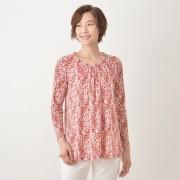 ペーズリーフラワー柄 衿ぐりギャザー寄せ チュニック【QVC】40代・50代レディースファッション