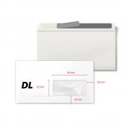 Plic DL, 110 x220 mm, fereastra dreapta 45 x 90 mm, alb, autoadeziv, 80 g/mp, 1000 bucati/cutie