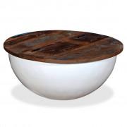 vidaXL Маса за кафе, регенерирано дърво масив, бяла, форма на купа