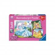 Ravensburger 3er Set Puzzle, je 49 Teile, 21x21 cm, Disney Palace Pets Be