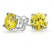 100 Original Natural Yellow Topaz Earring Lab Certified Topaz Silver Plated Studs Earring By Jaipur Gemstone