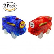 Track Cars Light Up Toy Car Track (2-Pack),5 LED Flashing Lights,Glow in the Dark Compatible with Most Tracks(Blue+Red)