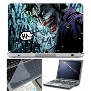 FineArts Laptop Skin - Comic Joker Ha Ha With Screen Guard and Key Protector - Size 15.6 inch