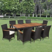 vidaXL Set mobilier de exterior, 17 piese, poliratan, blat lemn acacia