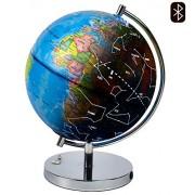 LED Light Up Globe with Bluetooth Speaker, Chrome Base and Detailed World Map - Constellations Glow at Night Ì¢åÛåÒ Projects Star Lights on Ceiling as Nightlight - 12.5 x 9Ì¢åÛå - by ToyThrill