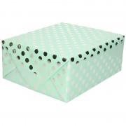 Geen Mint groene folie geschenkpapier zilveren stip 200 x 70 cm