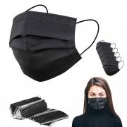 Ochranná rouška z netkané textilie 3 - vrstvá, černá - 5 ks - V&V