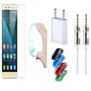 Huawei Honor 5X 0.3mm Curved Edge HD Flexible Tempered Glass with Nylon USB Travel Charger and 3.5mm Metal Aux Cable