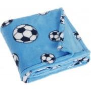 Playshoes fleece babydeken voetbal blauw