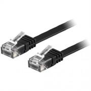 Deltaco flat nätverkskabel U/UTP CAT6 svart, 1m